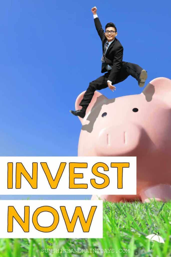 Man jumping over a giant piggy bank with the words: Invest Now