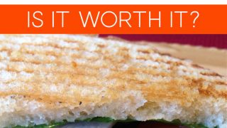 Panini Sandwich with the words: Eating Out - Is It Worth It?