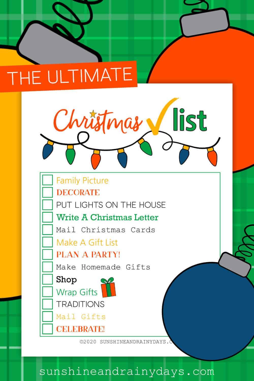 Christmas Checklist Printable