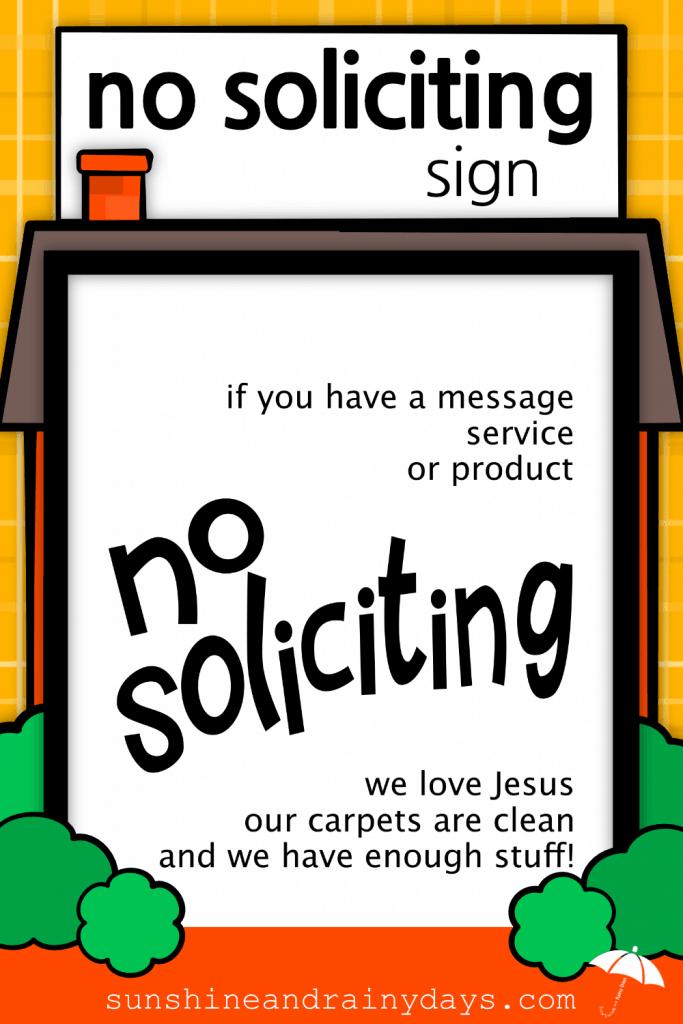 No Soliciting Sign to print at home!