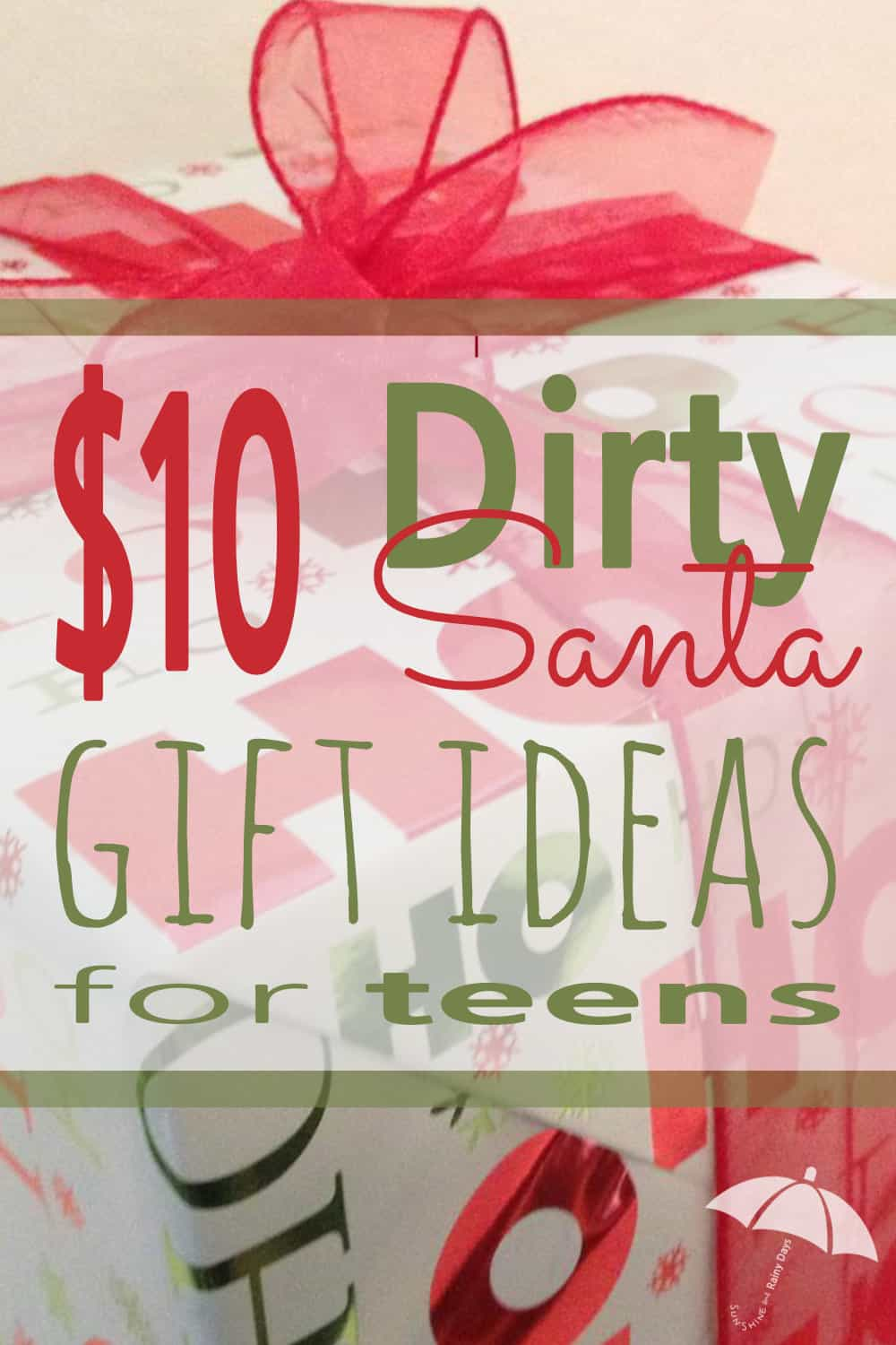 Is your teenager planning to attend a Dirty Santa party? Check out these teen approved $10 Dirty Santa Gift Ideas! #dirtysanta