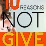 Girl Holding Piggy Bank with the words: 10 Reasons Not To Give