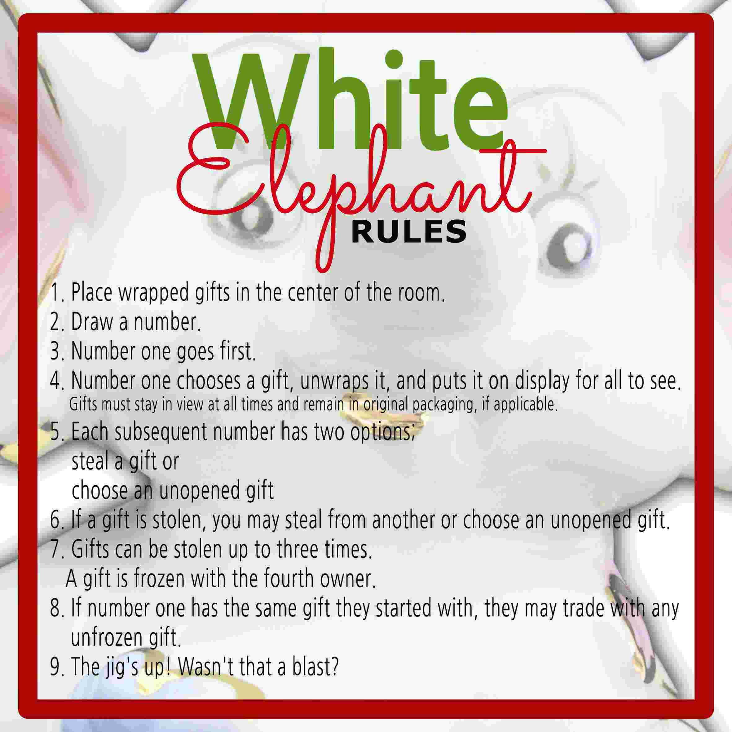 White elephant gift exchange rules and printables sunshine and white elephant rules negle Gallery