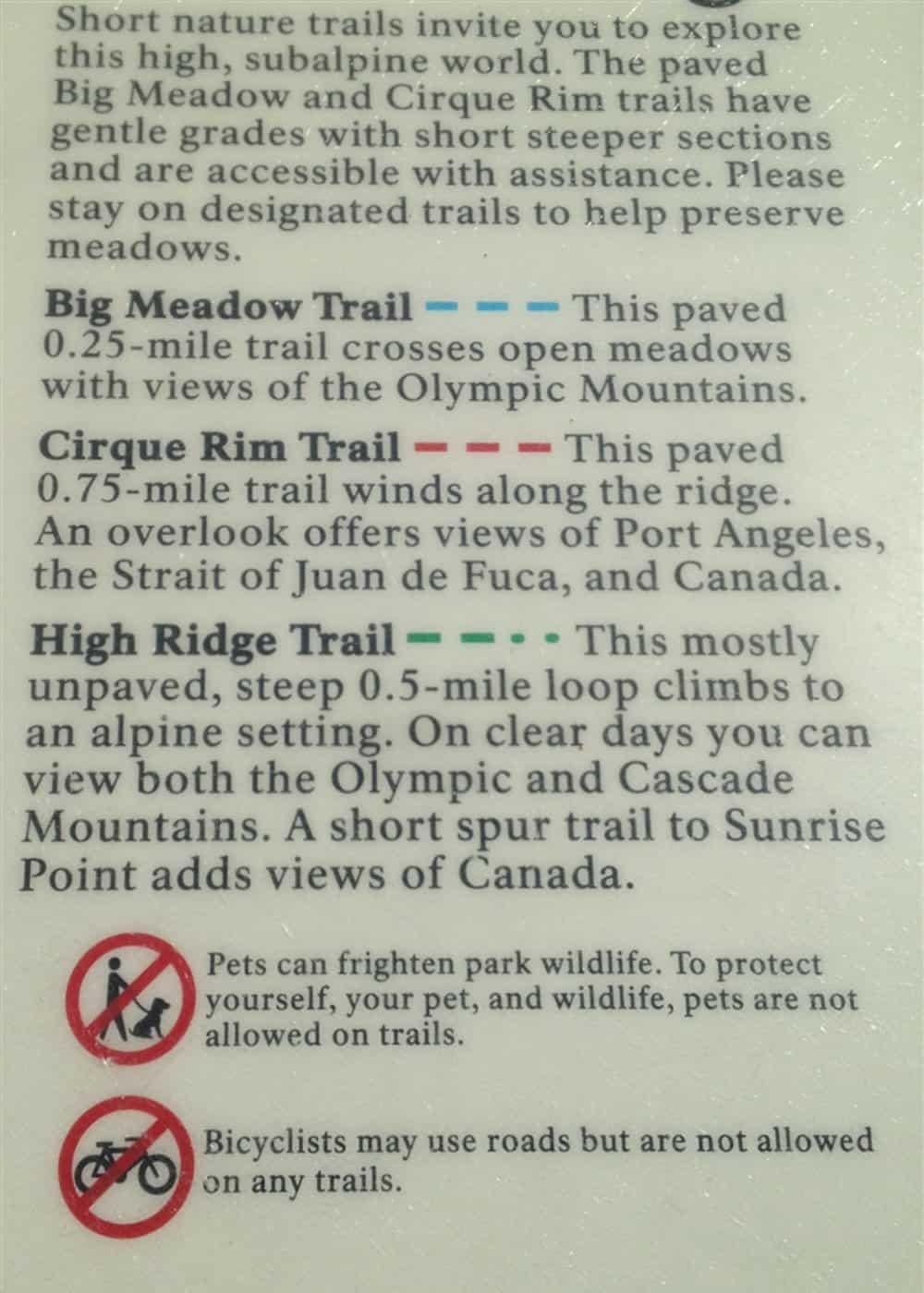 Hurricane Ridge Trail Guide