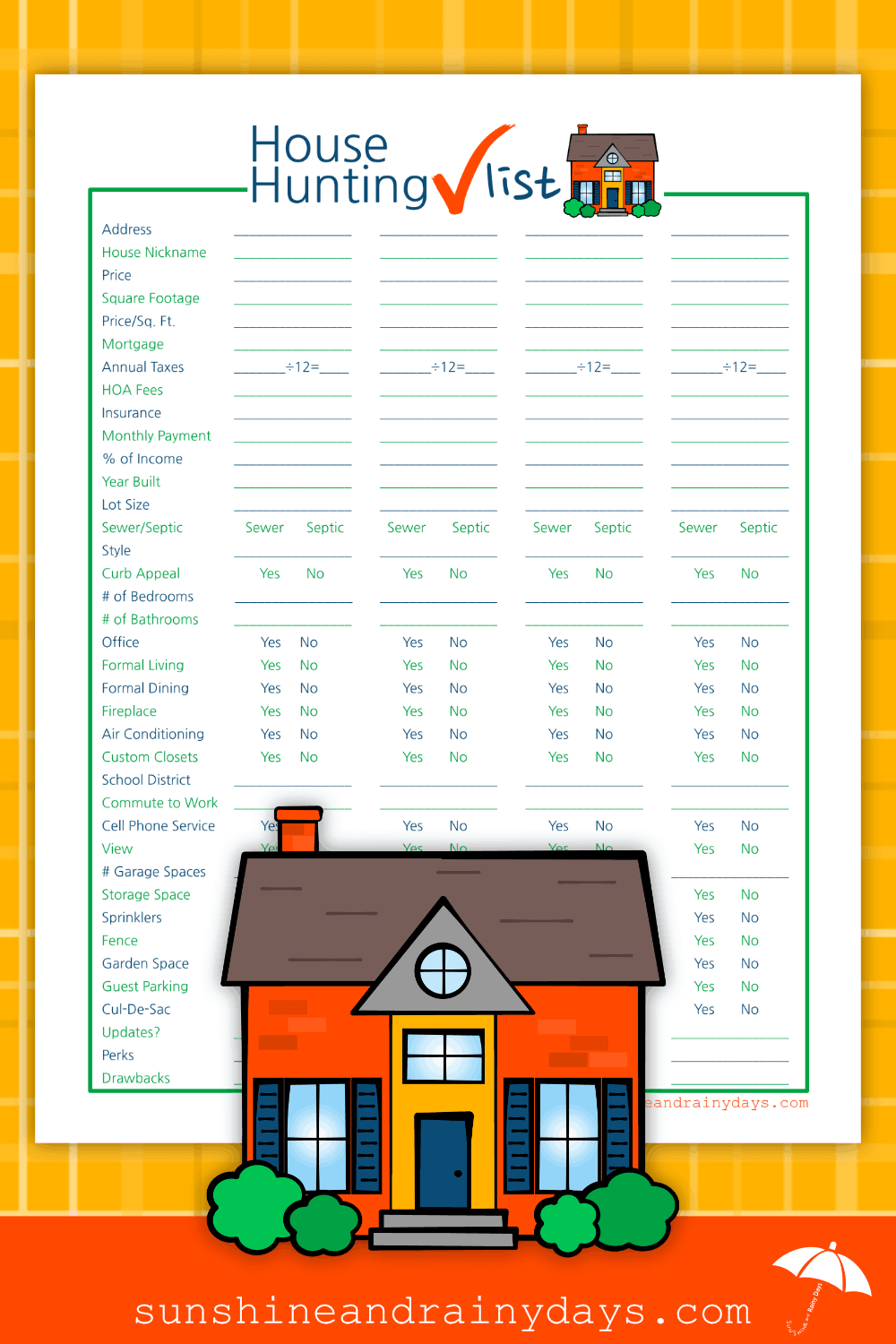 Massif image throughout house hunting checklist printable