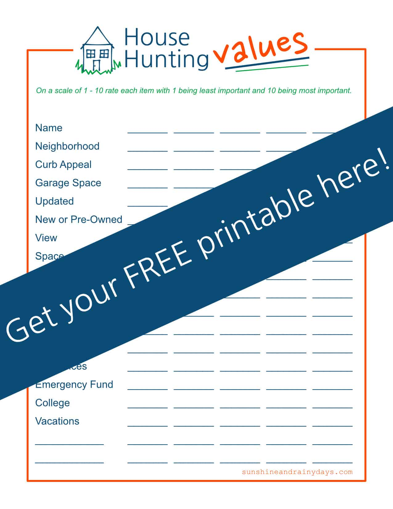 House Hunting Values Get Your Free Printable Here!