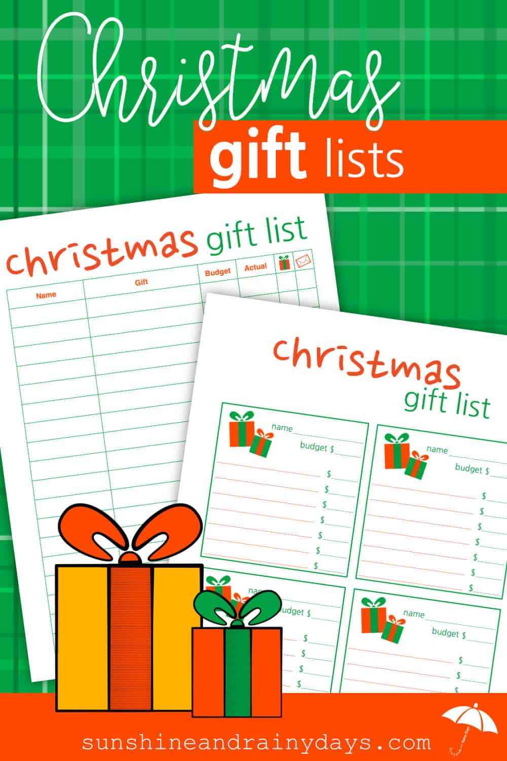 christmas gift list sunshine and rainy days