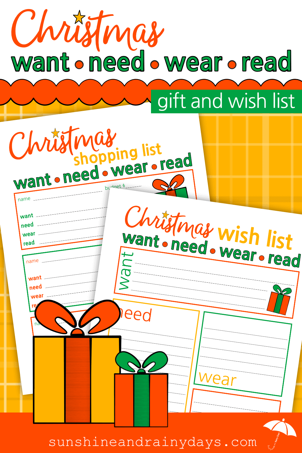 Christmas Want, Need, Wear, and Read Gift List Printables