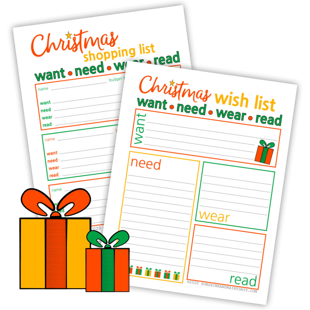 Want, Need, Wear, Read Christmas Gift And Wish List Printables