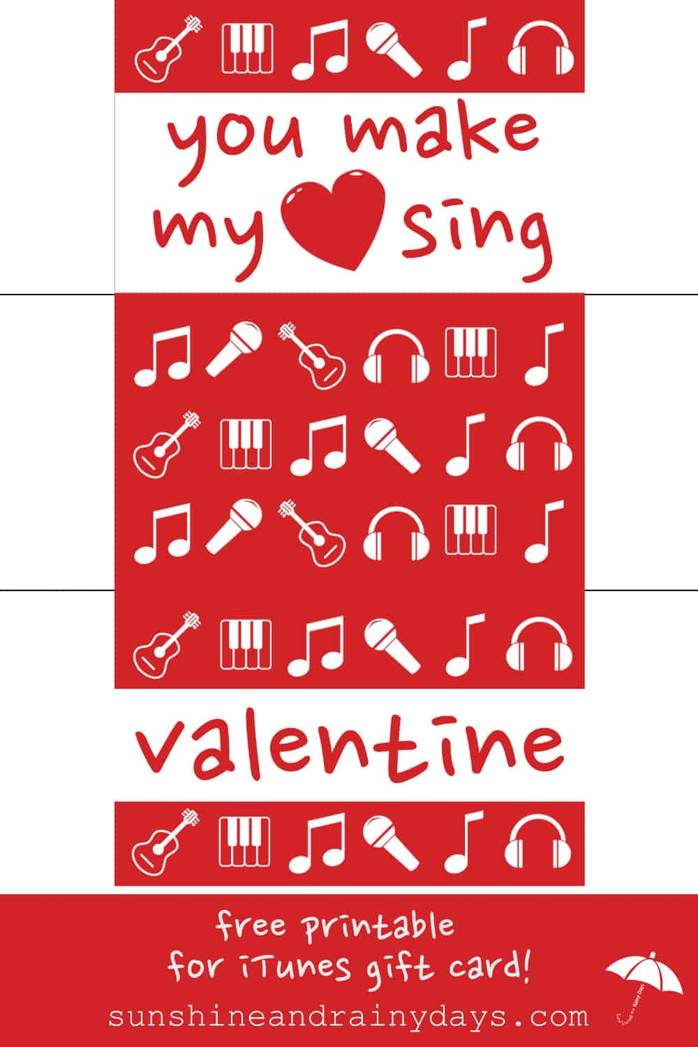 Are you giving the gift of music with an iTunes gift card this Valentine's Day? Throw it over the top with this Printable Valentine iTunes Gift Card Holder!