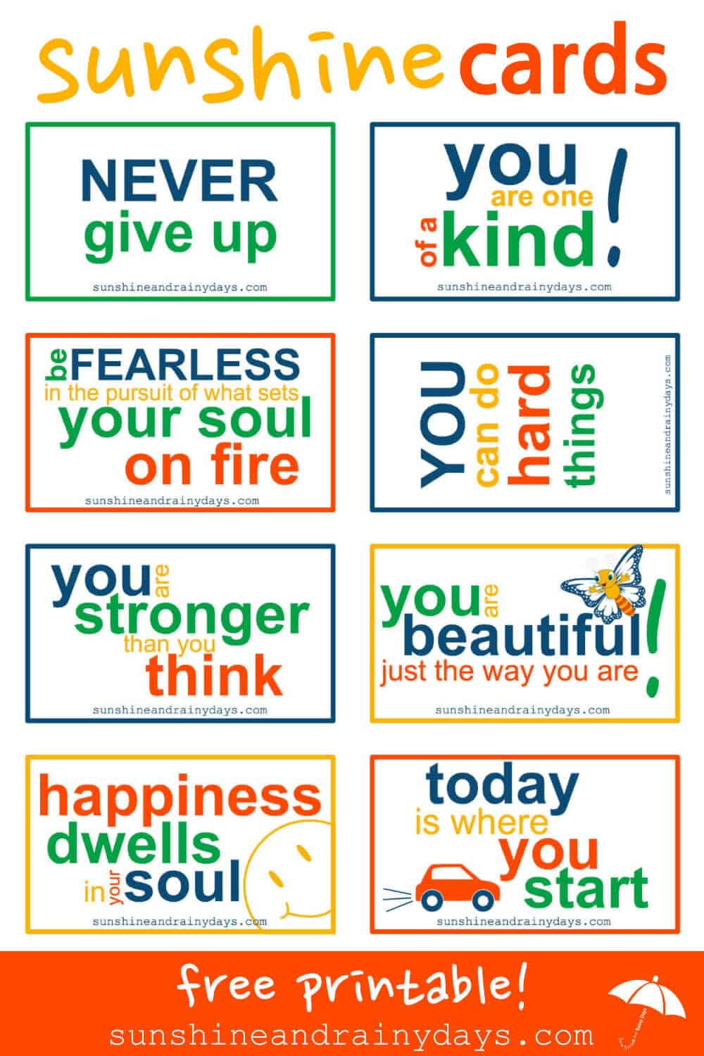 Print your own set of our FREE Printable Sunshine Cards and get ready to pay it forward in style when an opportunity presents itself!