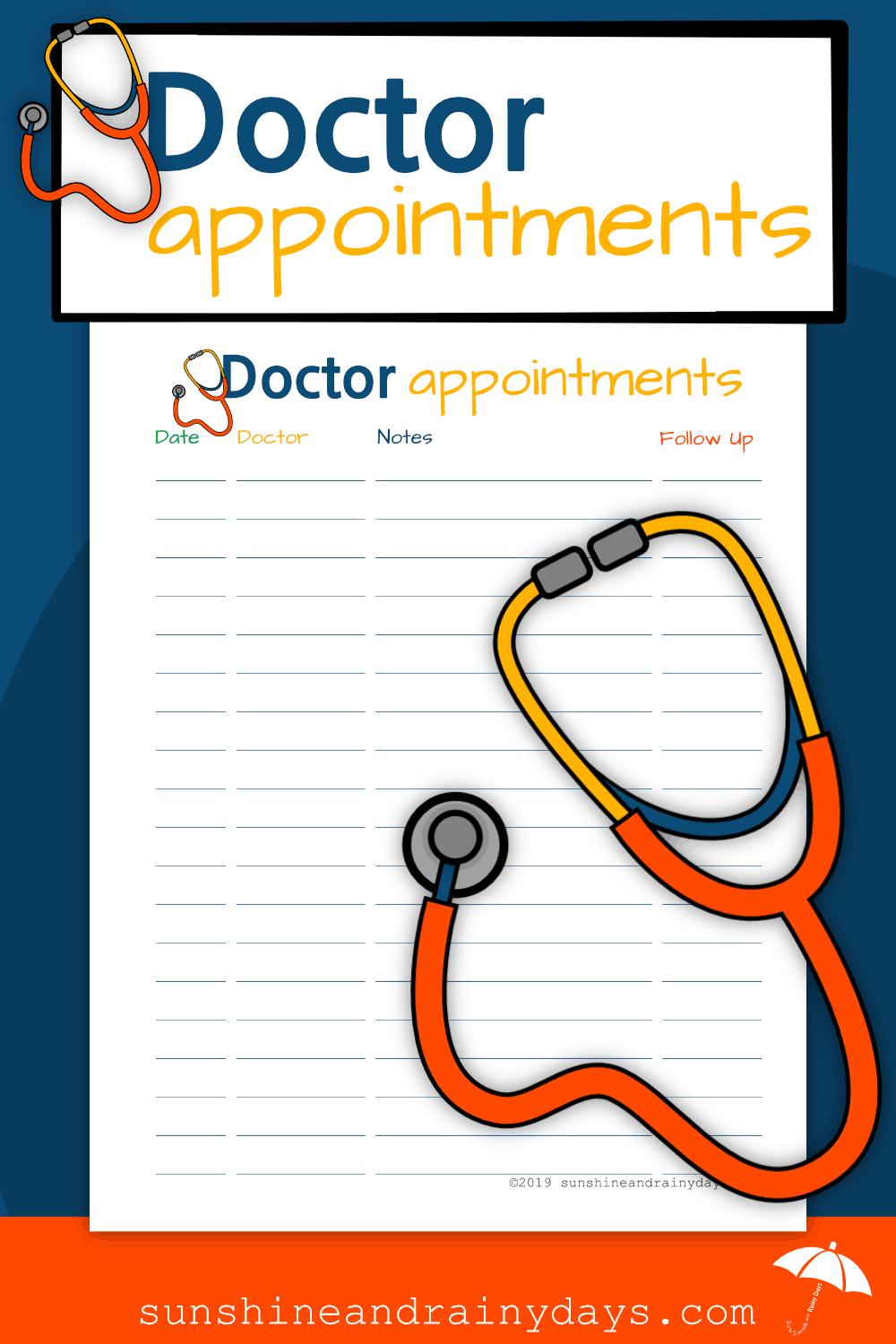 With the Doctor Appointments Free Printable, there is no need to call the doctor's office to see when your last appointment was. You have the information you need right in your very own Medical Binder! Medical Binder Printables | Doctor Appointment Tracker | Medical Printables | #medicalprintables #medicalbinder #SARD
