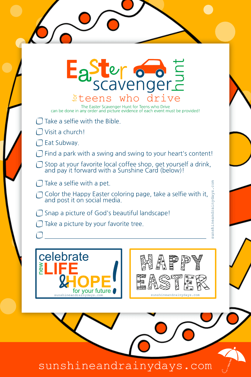 Easter Scavenger Hunt For Teenagers Who Drive Printable