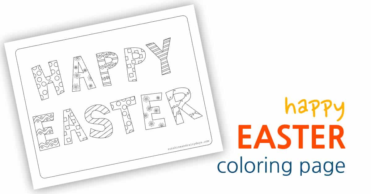 Happy Easter Coloring Page