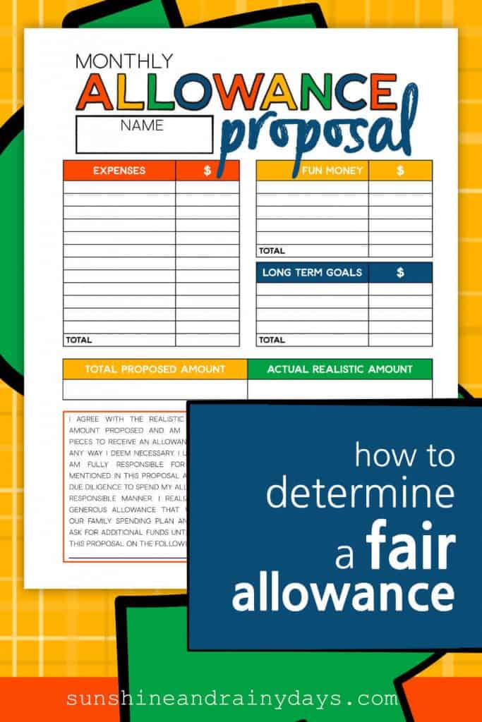 Allowance Proposal Worksheet with the words: How To Determine A Fair Allowance Amount