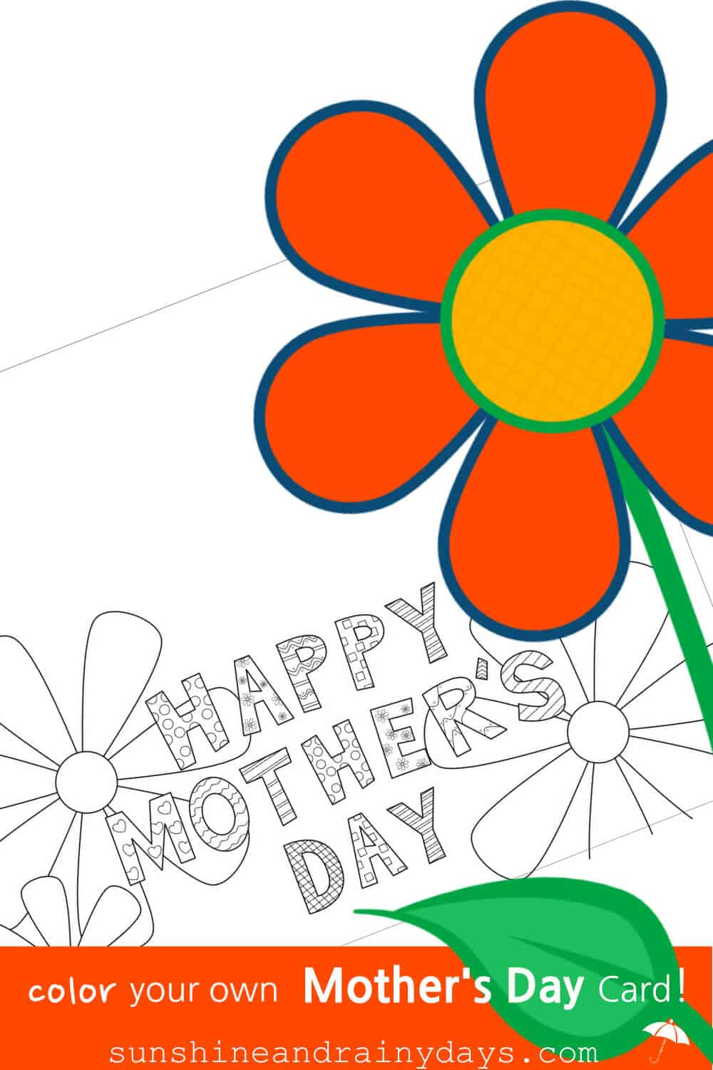 photograph relating to Happy Mothers Day Printable called Moms Working day Coloring Card -