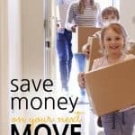 Family carrying boxes into their new house with the words: How To Save Money On A Local Move