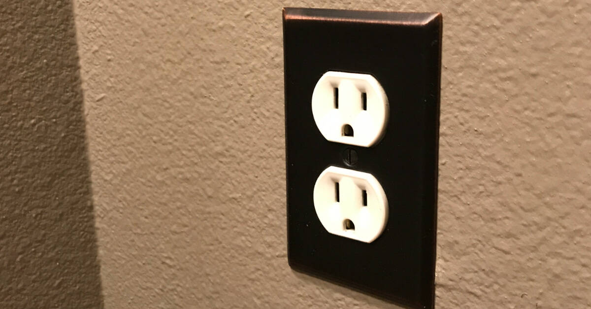 Outlet Plug with bronze faceplate.