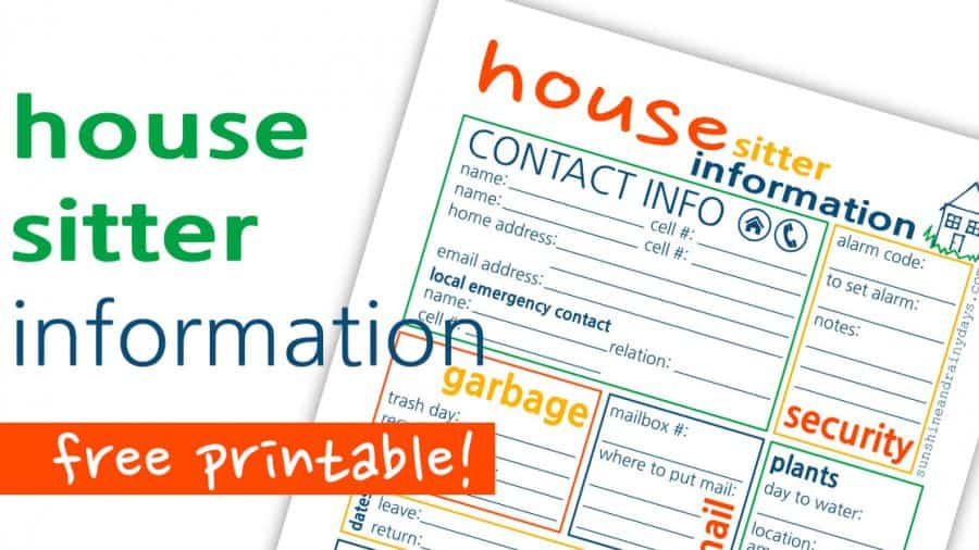 House Sitter Printable
