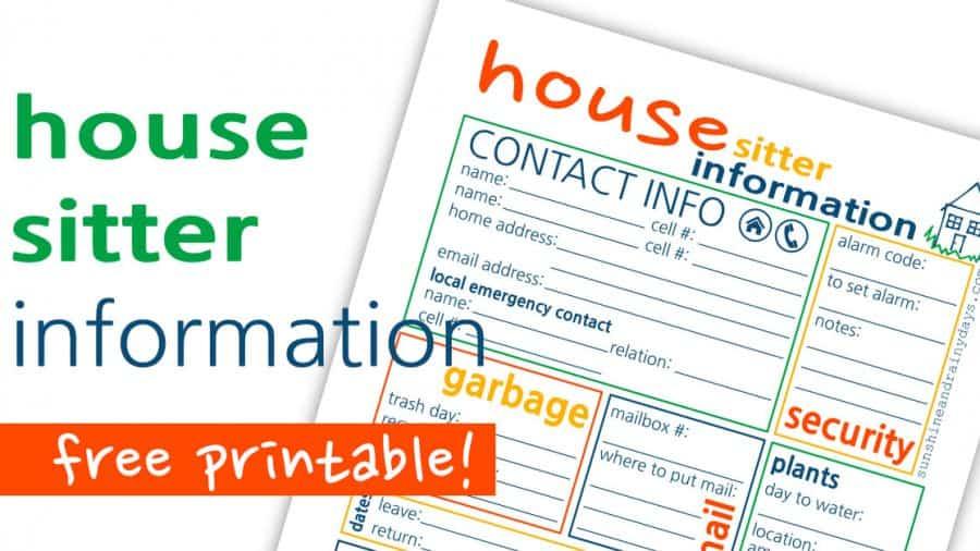 House Sitter Printable