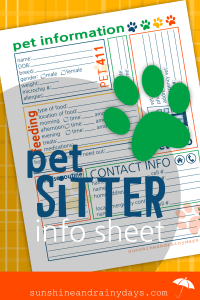 Pet Sitter Printable