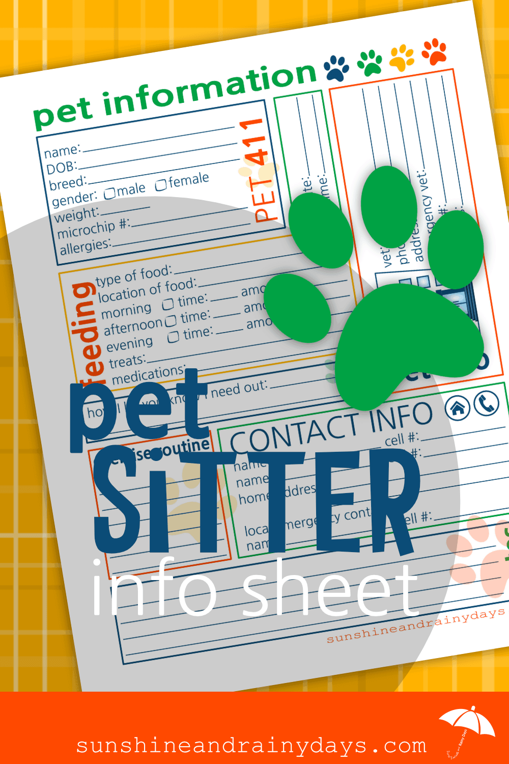 the ultimate pet sitter printable sunshine and rainy days
