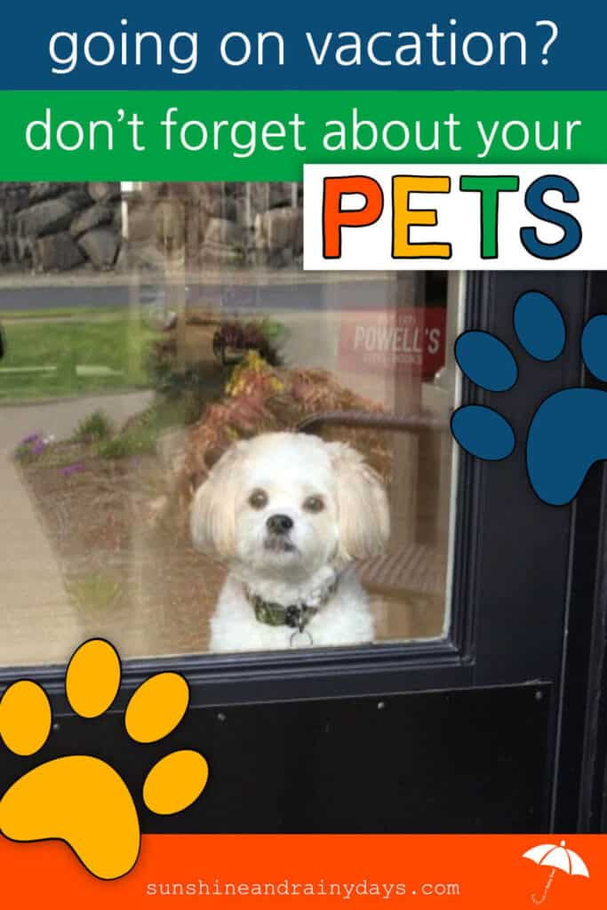 Pet looking out the glass door, thankful that his owners have left a pet sitter printable for his pet sitter.