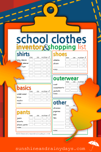 Back To School Clothes Inventory And Shopping List