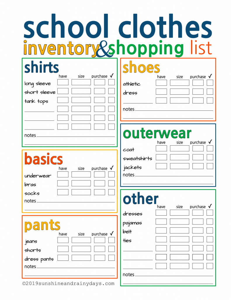 School Clothes Inventory And Shopping List