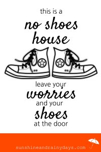 Here's a No Shoes House printable to take the awkward out of the shoes on or off question at the front door!