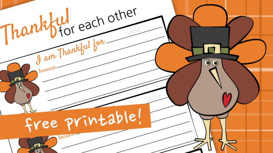 Thankful For Each Other Printable