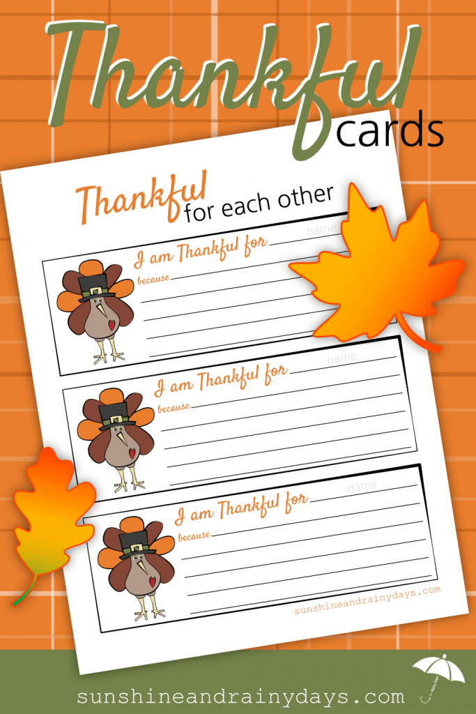 Thankful For Each Other Thanksgiving Printable