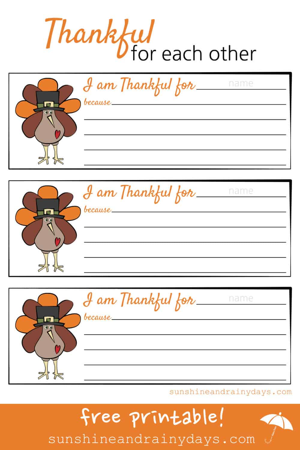 Thanksgiving is the perfect time to express our gratitude for each other. We've made it easy with our Thankful For Each Other Printable!