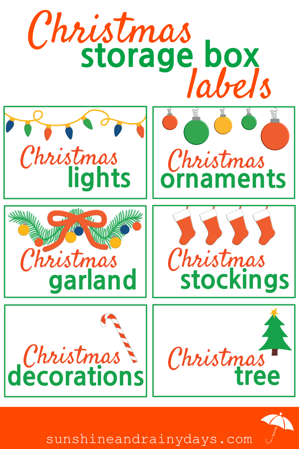 Something about the New Year makes me want to get organized! I'm starting with our Christmas decorations and, of course, needed some Christmas Storage Box Labels to make it more fun! Christmas   Christmas Printables   Storage   #Christmas #Printables #Christmasprintables #SARD