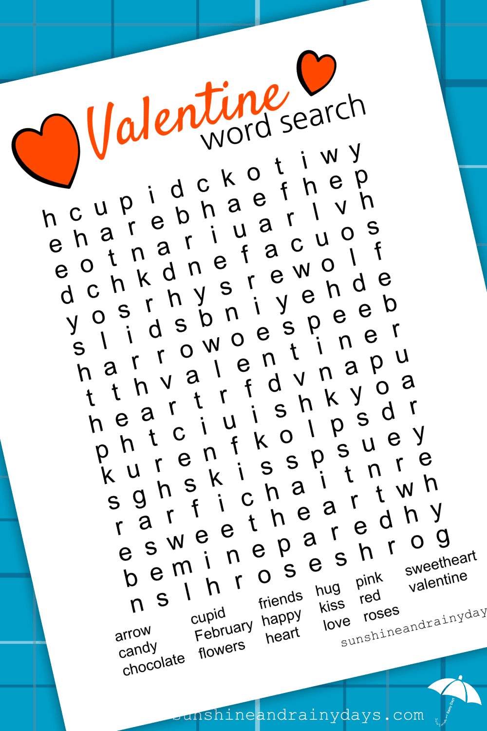 Add a little fun to your Valentine's Day with a Valentine Word Search Printable! Are you ever too old for a Word Search? #wordsearch #valentineprintable #valentinewordsearch #valentinewordsearchprintable
