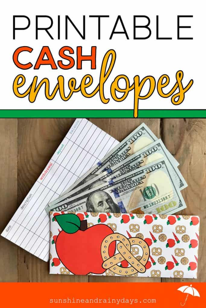 Food Cash Envelope with money and register and the words: Printable Cash Envelopes