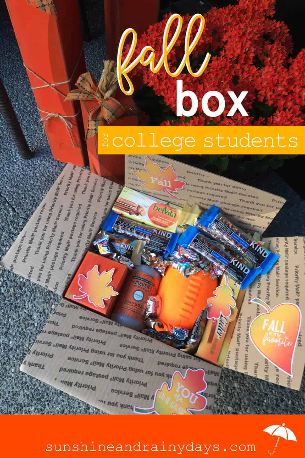 Your college student is settled into dorm life and working hard on papers, speeches, and keeping up with laundry. You have settled into an empty or emptier nest and are ready to send a Fall Box to let your awesome kid know how much you love them!