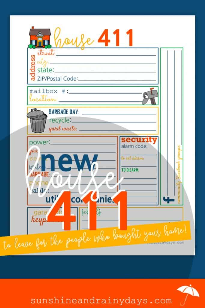 Have you sold your home and need a FUN way to share important details with the new homeowner?TheHouse 411 is here to help! House | House Printables | Printables | Sell Your House | #house #printables #SARD