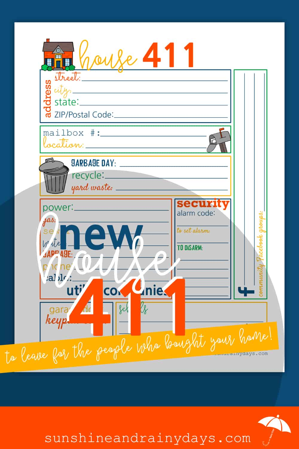 Have you sold your home and need a FUN way to share important details with the new homeowner? The House 411 is here to help! House | House Printables | Printables | Sell Your House | #house #printables #SARD