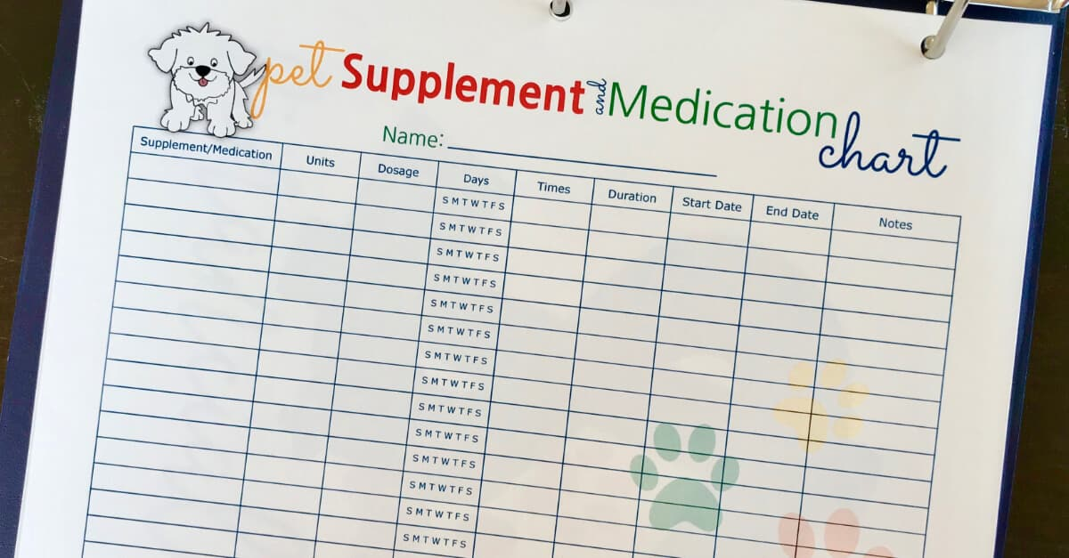 Big Book Of Everything For Pets Supplement and Medication Chart