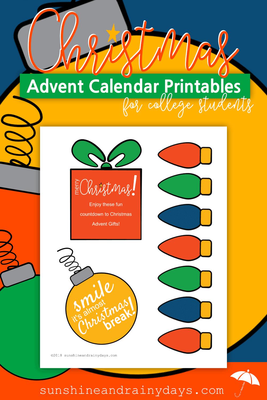 Christmas Advent Calendar For College Students - Sunshine and Rainy Days