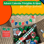 This is not your traditional Christmas Advent Calendar with cute little boxes that fit perfectly in another box. NOPE! This Advent Calendar is an assortment of small gifts to wrap and adhere Advent Calendar Numbers to! It's perfect for the college student because you can keep some gifts at home! Christmas Advent Calendar | Advent Calendar | Advent Calendar Ideas | Advent Calendar Printable #adventcalendar #ChristmasAdvent #printables #SARD