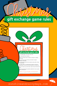 Christmas Gift Exchange Games are an excellent choice for a FUN Christmas celebration with friends and family. BUT ... you gotta have RULES! No game is complete without the tried and true rules. Gift Exchange Games | Gift Exchange Game Rules | Christmas Gift Exchange Rules | #ChristmasGames #SunshineAndRainyDays