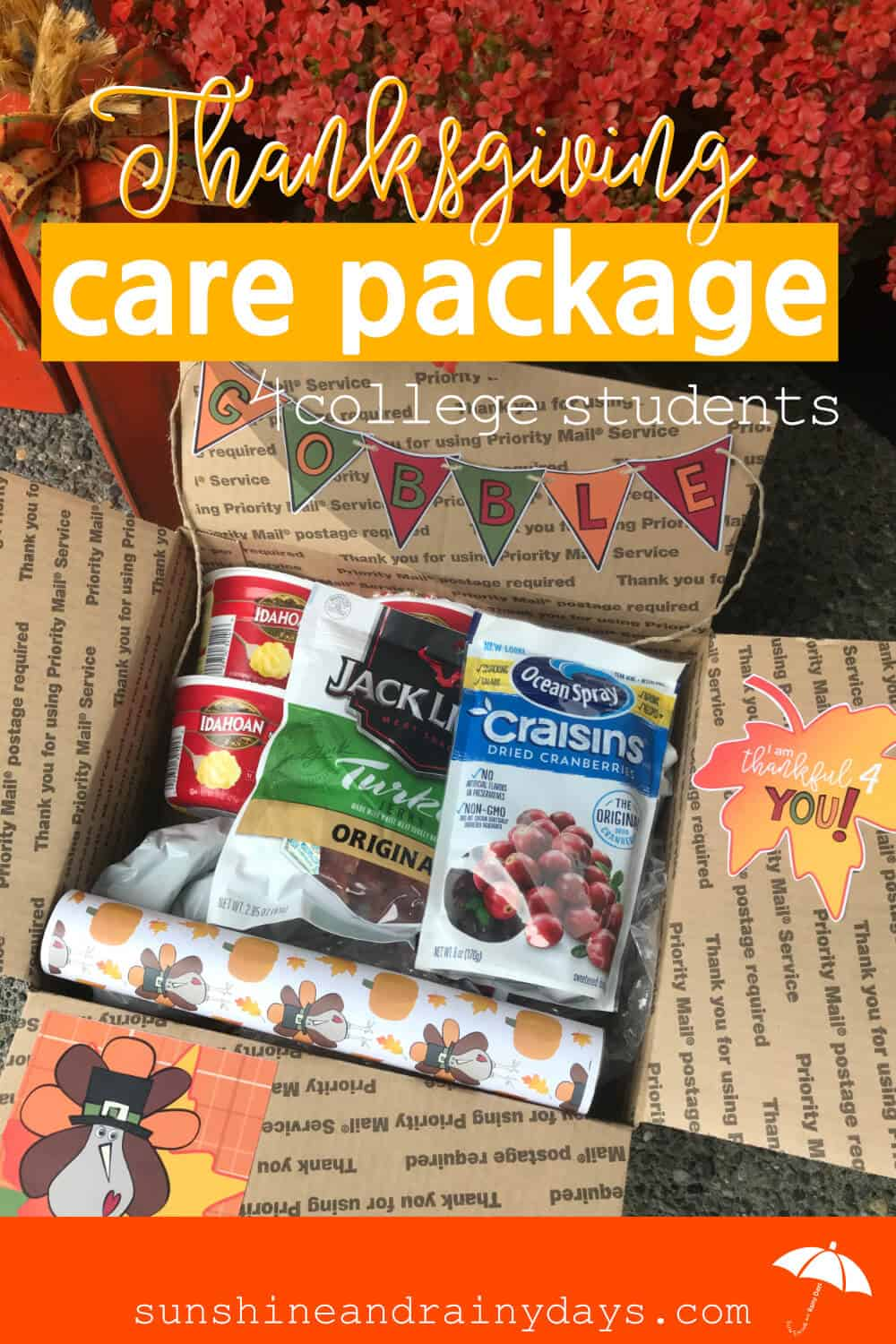 Thanksgiving Care Package For College Students Sunshine And Rainy Days
