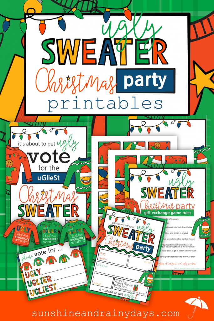Ugly Sweater Christmas Party Printables