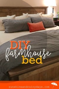 This King Size Farmhouse Bed turned out better than I could've imagined! It did take a lot of patience, time, and even left a few bruises but, a few months out, I think I would do it all over again! DIY Farmhouse Bed | DIY Bed | Farmhouse Bed | King Size Farmhouse Bed | #kingsizebed #farmhouse #diybed #SunshineAndRainyDays