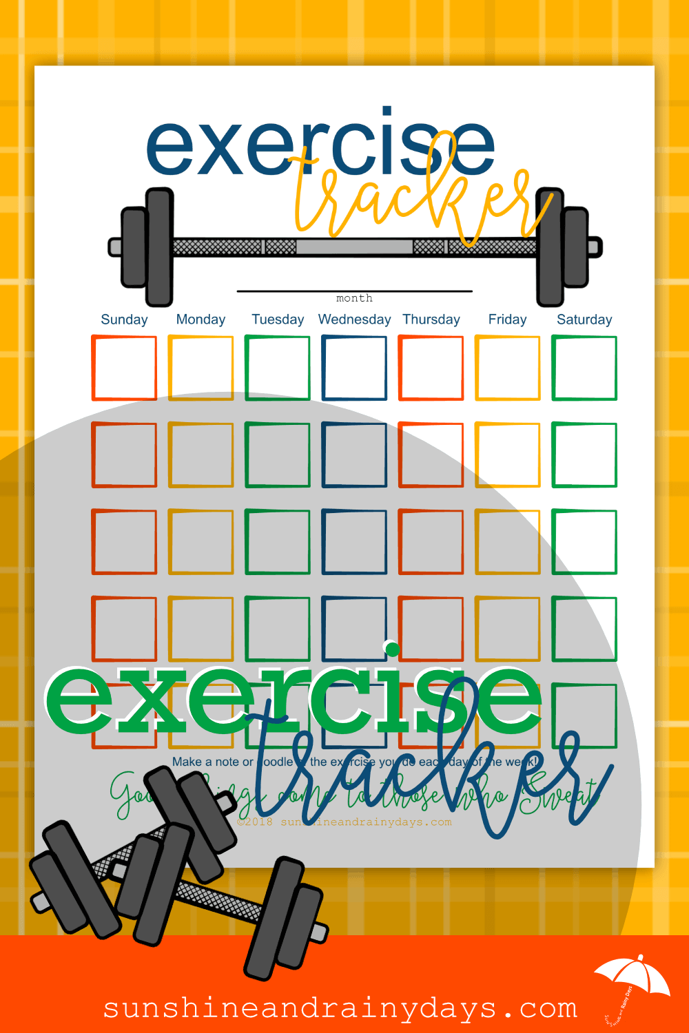 Are you ready to make exercise a habit in your life? Our fun and colorful Printable Exercise Tracker is here to help! Exercise Tracker Printable | Track Exercises | Fitness Tracker | Fitness Motivation | #exercise #fitnessmotivation #SARD