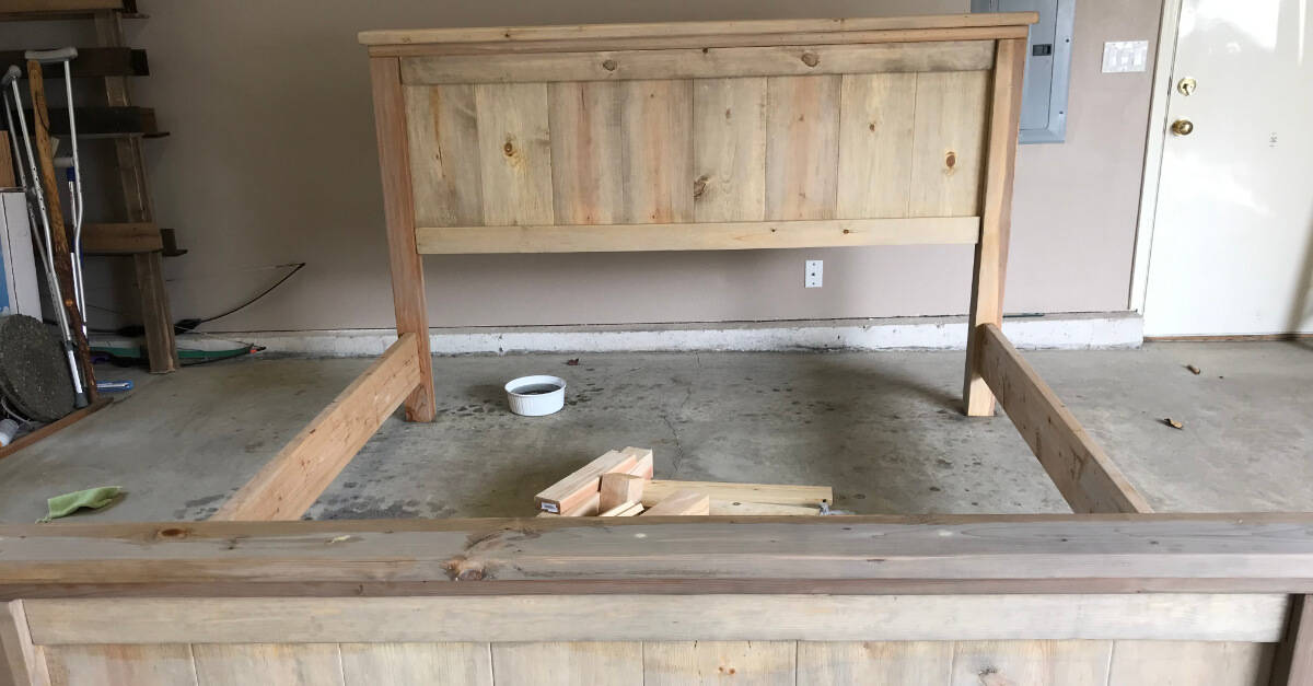 Farmhouse Bed With Tea Stain