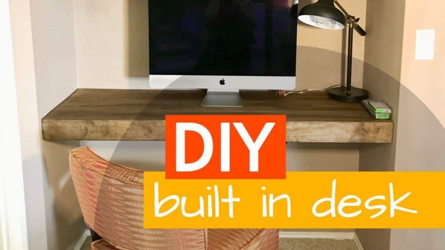 DIY Floating Built In Desk And Shelves F