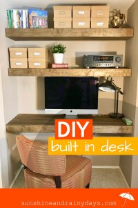 Do you have a nook begging for a Built In Desk?Check out what we did in our own awkward little nook! I'm super excited about this built in desk as it turned out so nice! The space, that was so awkward before, now looks like it was always meant to be.